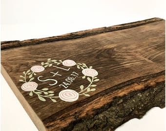 Personalised guest book - Log slice guest book - Wedding guest book - Alternative guest book - Guest book ideas - Wreath guest book