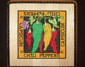 Chili Pepper Wall Decor Embroidery Wood Art, Kitchen Wall Decor, Southwestern Kitchen Decor, Country Kitchen Decor, Cottage Kitchen Decor