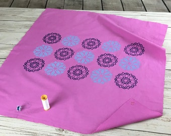 Pink lightweight cotton fabric Screen printed dark blue and lilac retro 60's ellipse flower design, hand dyed and hand printed fabric panel