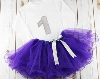 Baby Girl Birthday Outfit, First Birthday Outfit, Birthday Tutu, 1st Birthday Outfit, Purple Birthday Outfit, Sparkly Glitter Outfit, Tutu