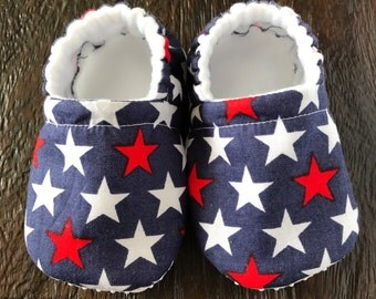 Patriotic Star baby booties // patriotic star crib shoes