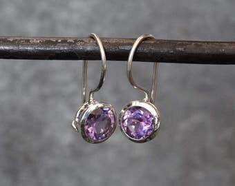 Amethyst Earrings, Amethyst Drops, Silver Drop Earrings, Silver and Amethyst, Faceted Amethyst, February Birthstone, Sterling Silver