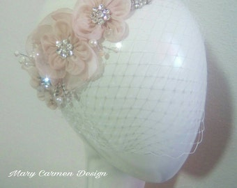 Headpiece wedding, birdcage veil, Blush pink, head Comb, tocado Novia, peineta boda, tocado cristales