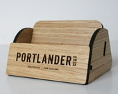 Wood Business Card Holder ; Customize our wood business card holder with your name, restaurant or business logo
