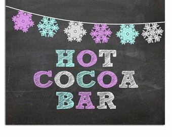 "Hot Cocoa Bar Chalkboard Sign Printable, Winter ONEderland Printable ""Hot Cocoa Bar"" Sign 8x10, Winter Wonderland ""Hot Cocoa Bar"" Sign"