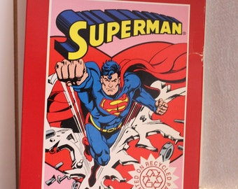Vintage American Greetings SUPERMAN Valentines, Recycled Paper Opened Box