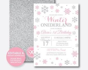 Instant Download, Editable Winter Onederland Birthday Invitation, Winter Onederland Invitation,Pink Silver First Birthday Invitation(GKB.02)