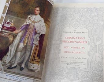 Coronation of King George VI and Queen Elizabeth / The Illustrated London News /  Color Images and B&W Ads for Drambuie and Austins / 1937
