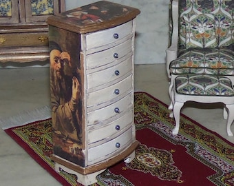 Seven Drawer Chest for 1:12th Dollhouse.  Coin and Gem Collection.  Decoupaged and Painted.