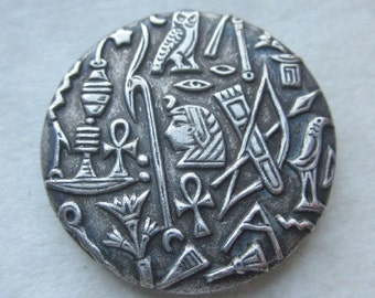 Egyptian Hieroglyphs and Symbols Button.  OneWomanRepurposed B 802