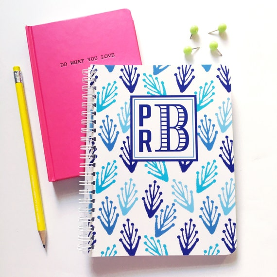 Ikat notebook, monogram spiral notebook, monogrammed notebook, custom notebook, pink notebook, blue and white stationery, monogrammed ikat