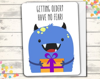 Monster Happy Birthday Card, Pun Card, Clever Card, Funny Monster Birthday Card, Cute Birthday Card, Birthday Greeting Card, Kawaii Monster