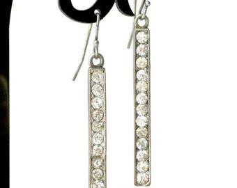 Long Rhinestone Bar Dangle Earrings For Pierced Ears - Clear Rhinestone Earrings, Long Earrings, Rhinestone Earrings, Bar Earrings