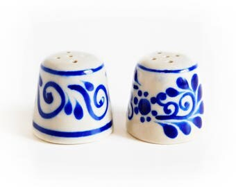 Blue and White Salt and Pepper Set, Delft Salt and Pepper Set, French Country Kitchen, Cobalt Blue and White Salt and Pepper Shakers