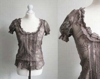 Vintage XS/S brown sheer lace top