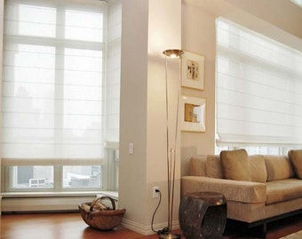 """Sheer Roman Shade """"White sheer linen"""" with chain mechanism, Linen Roman Shades, Window Treatments, Ready to made"""