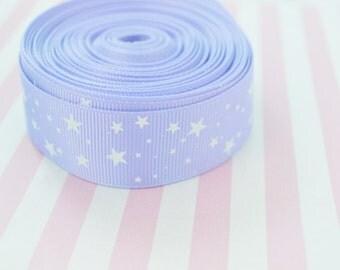 "1"" Kawaii Pastel Purple Star Grosgrain Ribbon - 5 yd set"
