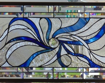 Abstract Stained Glass Window Hanging 30 X 15 3/4