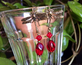 Earrings - Dragonfly Red