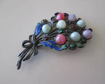 flower Bouquet Vintage Pin with Multicolor stones