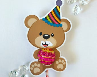 Birthday bear lollipop holders