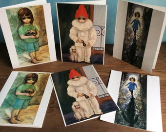 Walter Keane Greeting Cards - Margaret Keane Big Eye Cards - New Puppy Card - My First Party Card - The Runaway Card - Six Vintage Cards