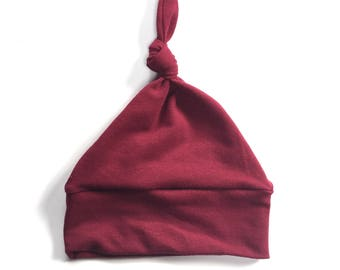 Modern Baby Knot Hat, Newborn hat, wine burgundy knot hat,  going home outfit