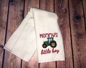 Embroidered Burp Cloth - Mommy's Little Boy Tractor