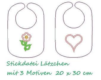 Machine embroidery applique bib ITH 20 x 30 cm