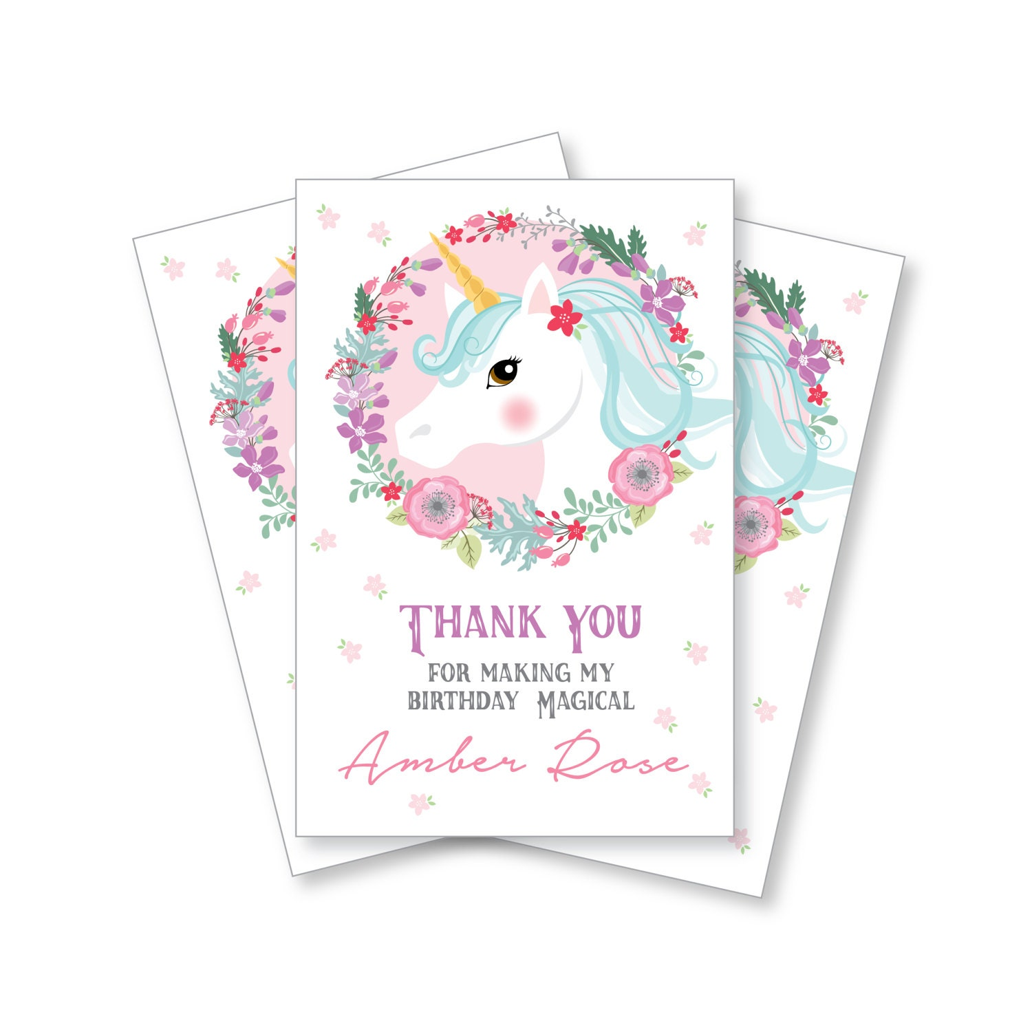 Unicorn Birthday Thank You Card Customized Printable DIY Girl s