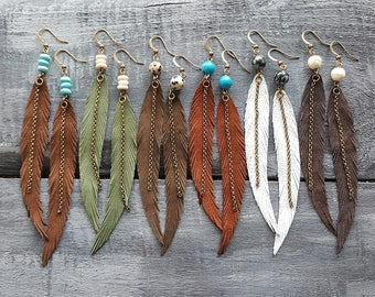 Long Feather Earrings Bohemian Earrings Gemstone Leather Earrings Bohemian Jewelry Long Leather Feather Earrings Boho Tribal Earrings.