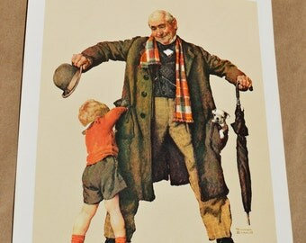 Vintage 1972 Norman Rockwell Print Granddad with The Gift, a Puppy in his Pocket for his Grandson. Free Shipping in USA.