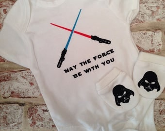 """Star wars'may the force be with you"""" baby vest/ bodysuit and scratch mitts.0-3 months or 3-6 months"""