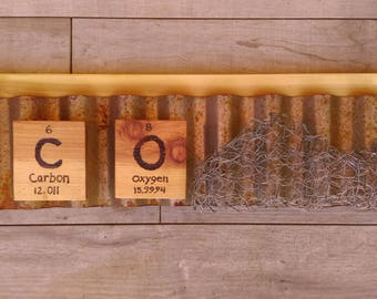 Elements of Colorado:  Rustic Industrial Wood Colorado Sign with chemical element symbols