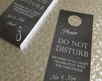 Personalised Wedding Guest Door Hangers. Bride and Groom getting ready door hangers