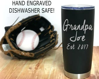 Personalized Grandpa Mug - Dishwasher Safe - 20 oz Stainless Steel - Matte Black - Gift for Papa - Coffee Travel Mug - Father's day gift