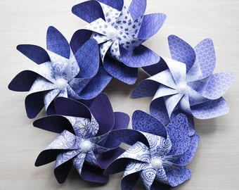 Pinwheels BLUE CHINA - Set of 5 Beautiful Double Spinners for weddings, decorations, parties in hues of blue, periwinkle and white