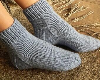 Knit Socks Winter Socks Warm Socks Knitted Socks Womens Knit Socks Cozy Hand Handknit Blue Socks Knit Socks Womens Cable Knit Socks