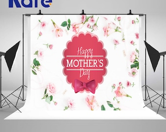 Mother's Day Pink Flowers and Red Pattern Photography Backdrops Seamless White Wall Photo Backgrounds for Studio Props