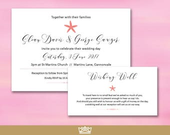 Wedding Invitation Suite / The Sloan Suite / Custom White Coral Invite +  Wishing Well Set