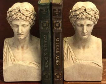 Grecian Bookends, Busts of Caesar Bookends, Plaster cast, Sculpted Bookends, Library study decor, Gifts