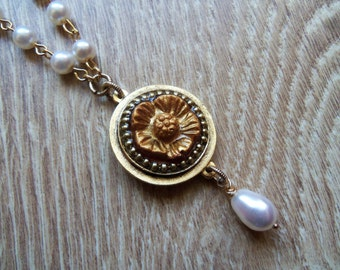 Tudor rose necklace, resin, Tudor rose pendant, faux pearl