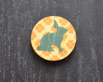 8 wooden laser cut rabbit discs- orange