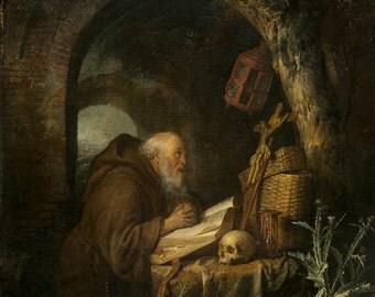 Gerrit Dou: The Hermit. Fine Art Print/Poster. (004145)