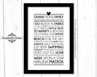Disney Motivational Quotes - Typography Print - 2017 - Quotes & Lyrics - PRINT