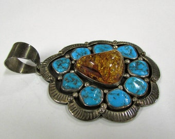 Sterling Silver, Turquoise and Amber Pendant by Jose Campos (J)