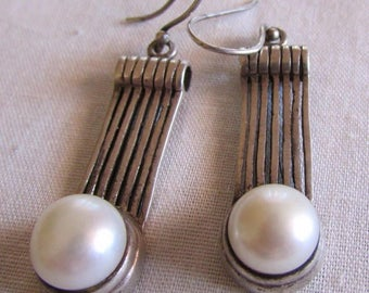 Sterling Silver and Pearl Wire Dangle Earrings