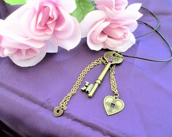 Heart Key Necklace, Word Key Necklace, Key Necklace, Heart Key With Heart Charms