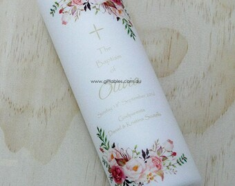 Personalised Christening / Baptism Candle - Wildflower