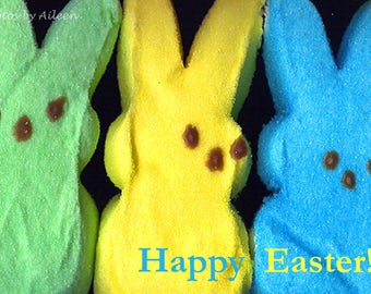 peeps card, Happy Easter card, bunny Easter card, rabbit peeps, Easter photo
